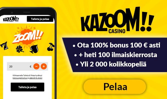 Pelaa pikana Kazoom Casinolla ilman rekisteröitymistä