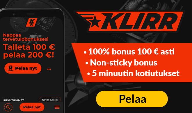 Klirr Casino tarjoaa uusille asiakkaille 100% bonuksen 100 euroon asti