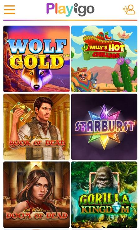 Playigo casinon pelivalikoima on saatavilla myös mobiilissa