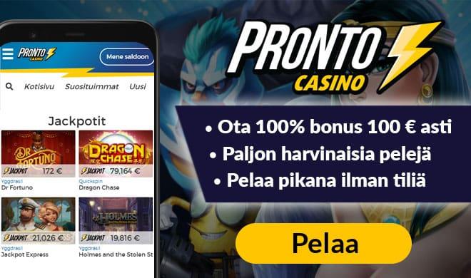 Pronto Casino tarjoaa sinulle 100% bonuksen 100 € asti