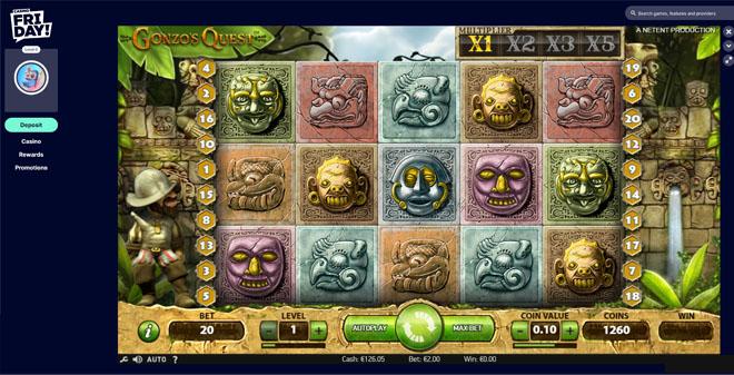 Casino Friday Gonzos Quest peli kokeilussa