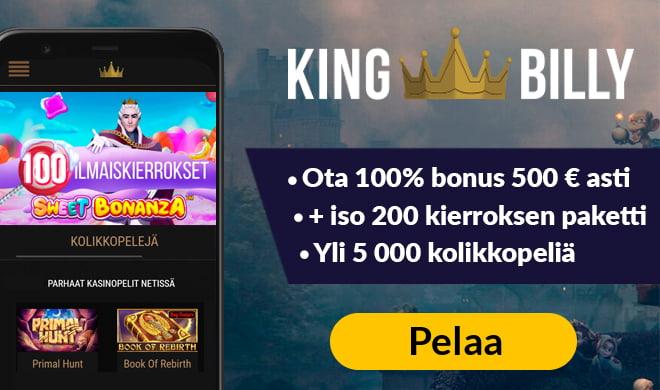 King Billy Casino kokemuksia pääsee keräämään nopeasti 100% bonuksella 200 euroon asti