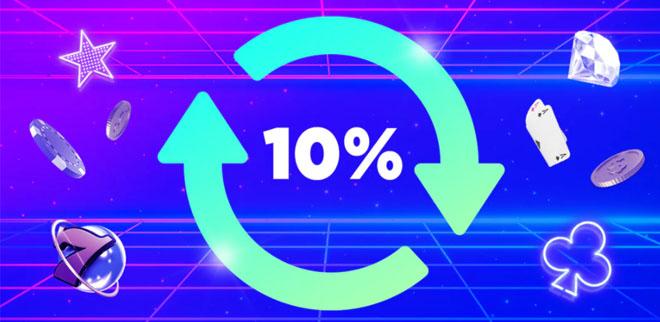 Megarush bonus on 10% käteispalautusta