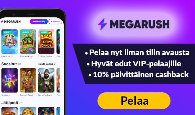 Megarush casinon kansikuva