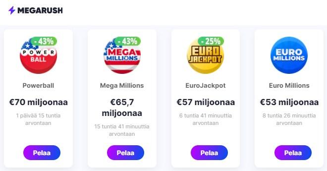 Megarush lotto tarjoaa maailman isoimmat lottopotit