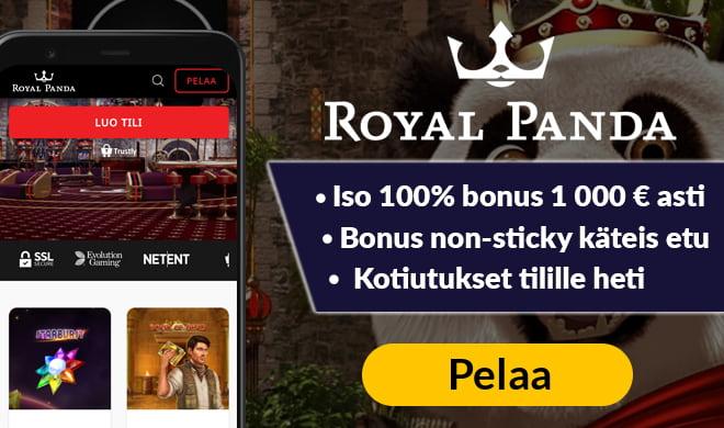 Royal Panda Casino tarjoaa pelit sekä kotiutukset pikana