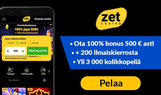 Zetcasino kokemuksia pääsee keräämään 100% bonuksella aina 500 euroon asti