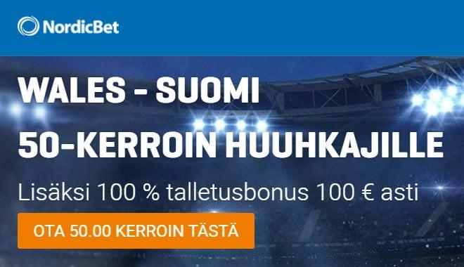 Ota Suomelle 50.00 kerroin Wales Suomi UEFA Nations League otteluun