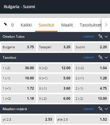 Betsson kertoimet Bulgaria Suomi otteluun.