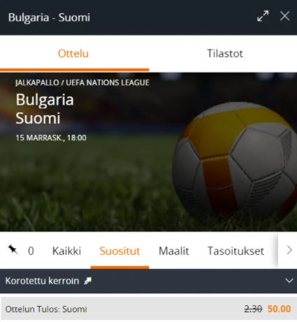 Uudet pelaajat saavat korotetun kertoimen Suomelle Bulgariaa vastaan