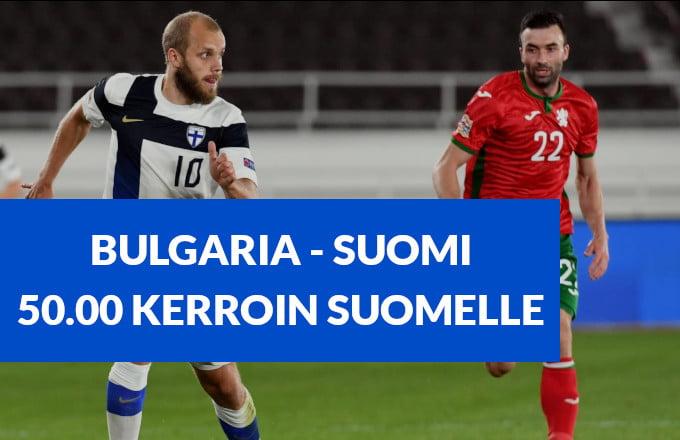 Bulgaria Suomi otteluun 15.11.2020 on tarjolla 30.00 kerroin