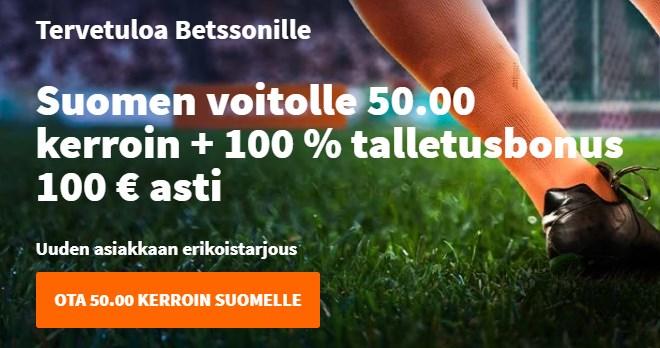 Paras kerroin Suomi Bulgaria -otteluun on Betssonin 50.00 korotettu kerroin