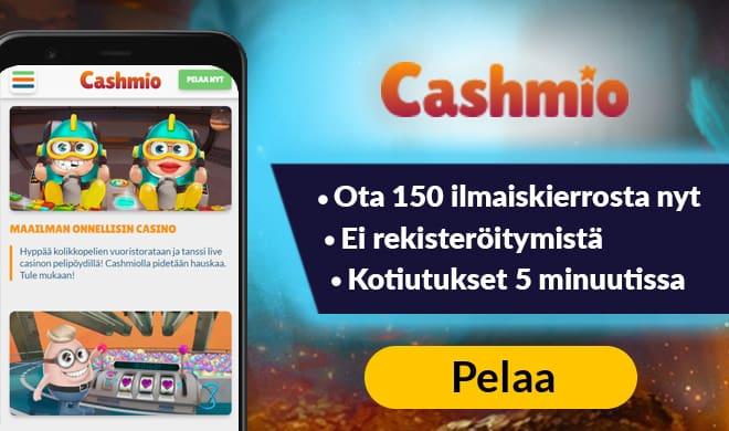 Cashmio Casino antaa sinun aloittaa pelit 150 ilmaiskierroksella
