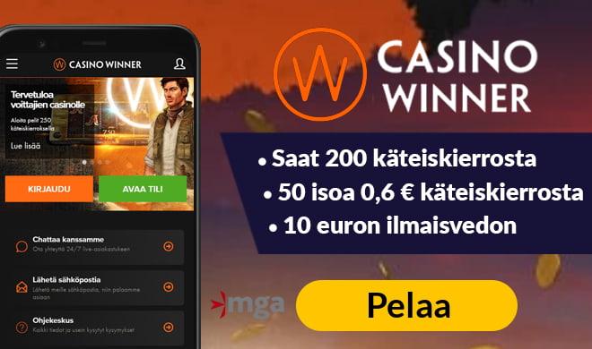 Kerää Casino Winner kokemuksia 250 käteiskierroksen voimin