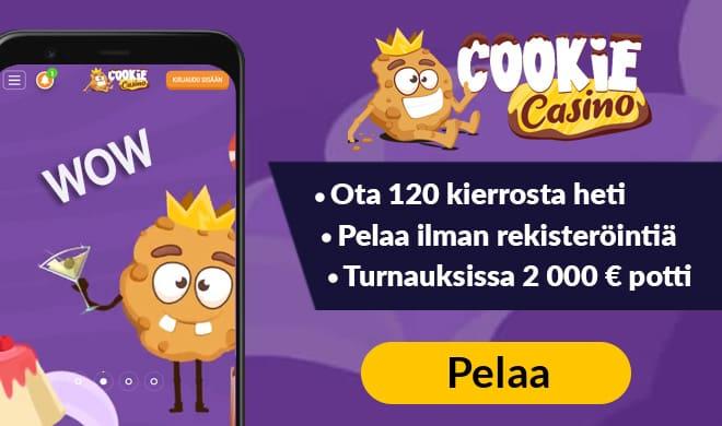 Kerää Cookie Casino kokemuksia 120 ilmaiskierroksen voimin