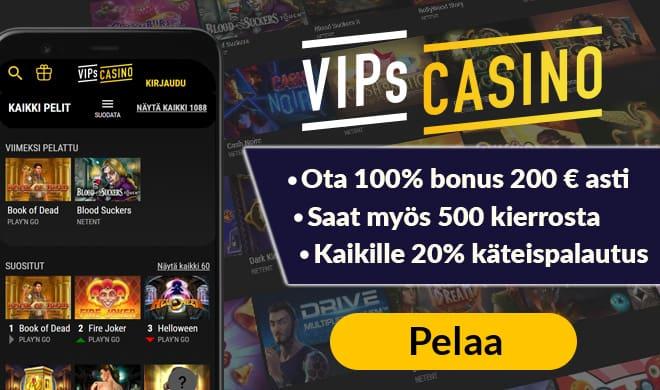 VipsCasino.com kokemuksia pääsee keräämään 200 euron bonuksen sekä 500 ilmaiskierroksen avulla