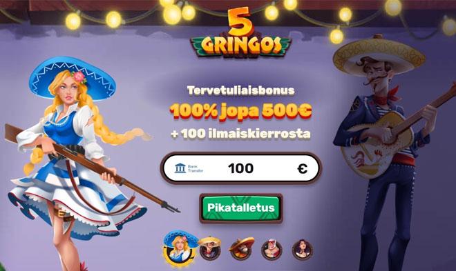 5Gringos Casino tarjoaa 5 eri talletusbonusta