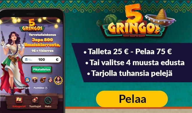 5Gringos Casino aloittaa pelaajiensa edut 200% bonuksella 50 € asti