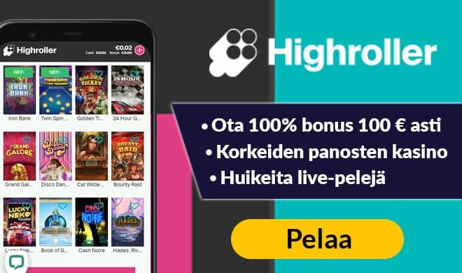 Kokeile uudistuneen ilmeen saanutta Highroller kasinoa