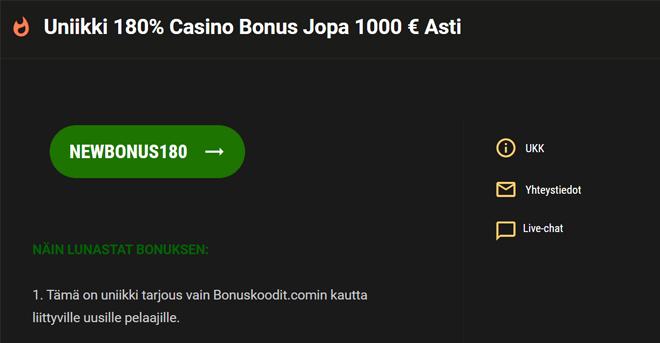 Million Vegas casino bonuskoodi aktivoituu sivulla automaattisesti