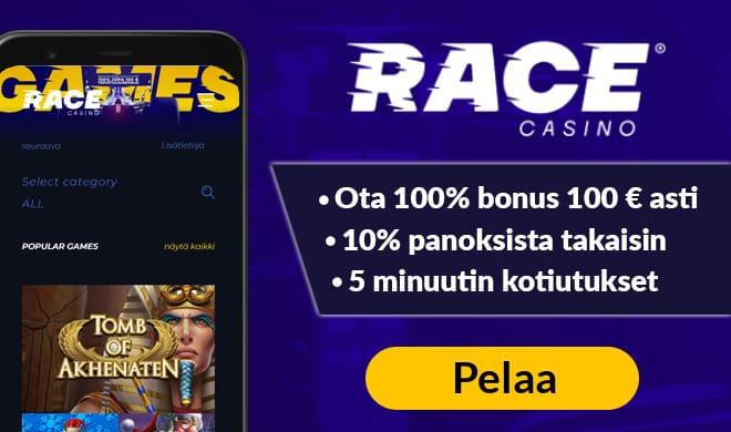 Race Casino tarjoaa hyvät bonukset ja käteispalautuksen.