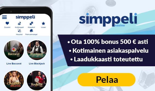 Kokeilimme Simppeli Casinoa 100% bonuksella 500 € asti