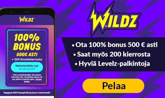 Ota Wildz Casinolta 100% bonus 500 € asti niin saat myös 200 ilmaiskierrosta