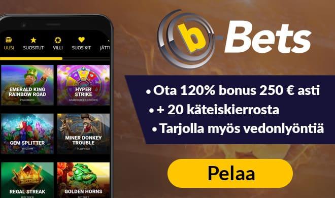 b-Bets tarjoaa vain meidän lukijoillemme muita paremman 120% bonuksen 250 € asti