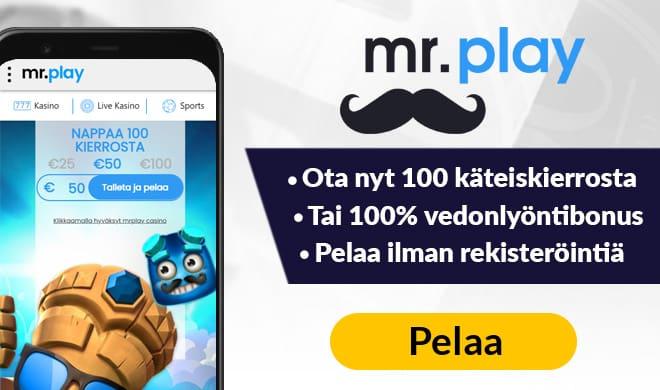 Tammikuussa 2021 uudistunet MrPlay kasino tarjoaa uusille asiakkaille 100 käteiskierrosta