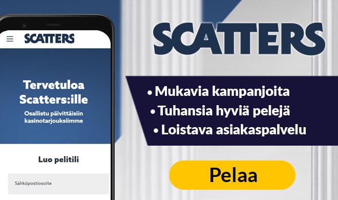 Kokeile Scatters Casinoa riskittömällä 25 € bonuksella