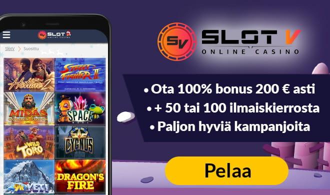 SlotV casino kokemuksia pääsee keräämään 100% bonuksella aina 200 euroon asti