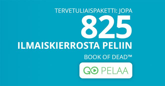 Uudet asiakkaat voivat lunastaa 825 Book of Dead -kierrosta