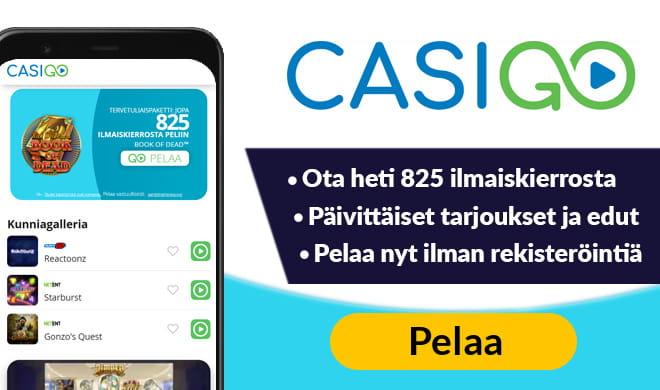 CasiGO Casino tarjoaa pelaajille peräti 825 ilmaiskierrosta Book of Dead peliin.
