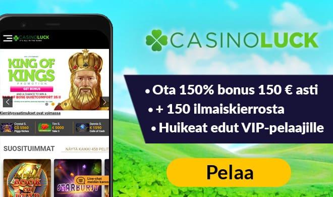 Casinoluck antaa uusille asiakkaille 150% bonuksen 150 € asti sekä 150 ilmaiskierrosta