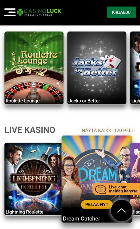 Casinoluck toimii näppärästi myös mobiilissa
