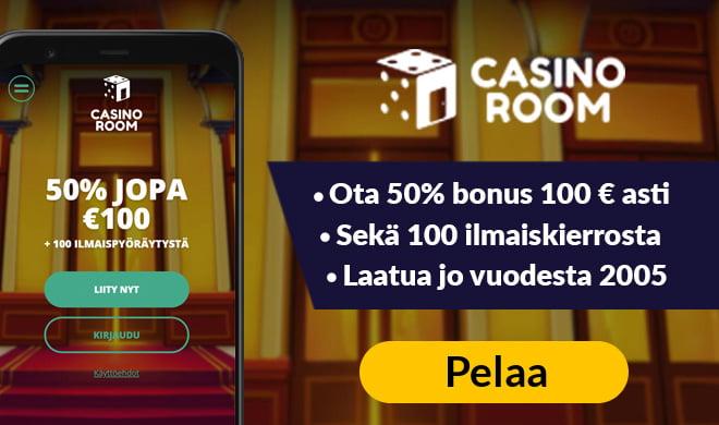 Kokeile Casinoroom sivustoa 50% bonuksella 100 € asti