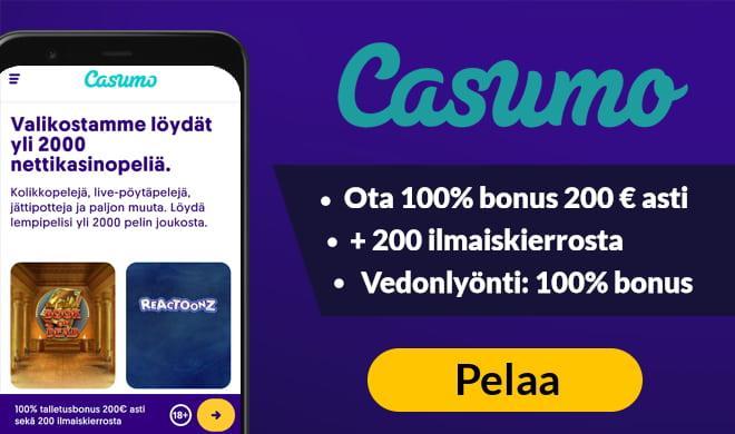 Aloita pelit Casumo Casinon 100% bonuksella 200 € asti + 200 ilmaiskierroksella