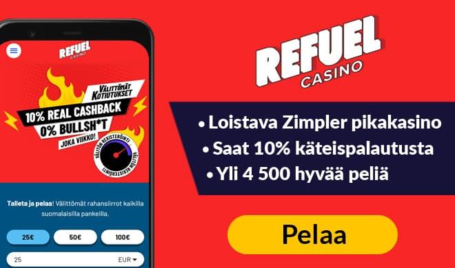Refuel Casino tarjoaa 5 minuutin kotiutukset sekä 10% käteispalautusta
