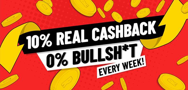 Refuel Casinon bonuksena on tilille torstaisin maksettava 10% käteispalautus ilman kierrätysvaatimusta tai maksimi palautusta