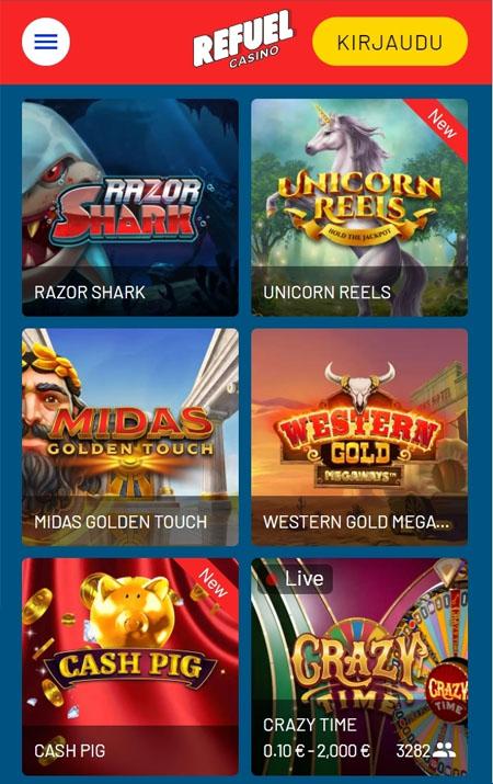 Refuel Casino toimii oikein näppärästi myös mobiililaitteilla