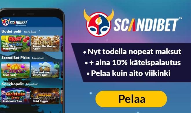 Scandibet Casino antaa sinulle 10% tappioista takaisin käteisenä sekä 100% talletusbonuksen, joka on voimassa aina 100 euroon asti.
