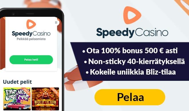 Speedy Casino tuplaa uusien asiakkaiden talletukset aina 500 euron talletukseen asti.