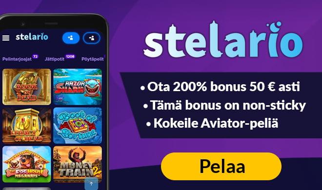 Stelario Casinolla voit aloittaa pelit 120% non-sticky bonuksella 300 € asti. Tämä etu on vain meidän lukijoillemme.