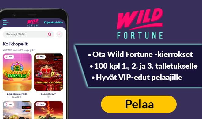 Wild Fortune kasino antaa pelaajille jopa 300 kierrosta kolmen ensimmäisen talletuksen aikana