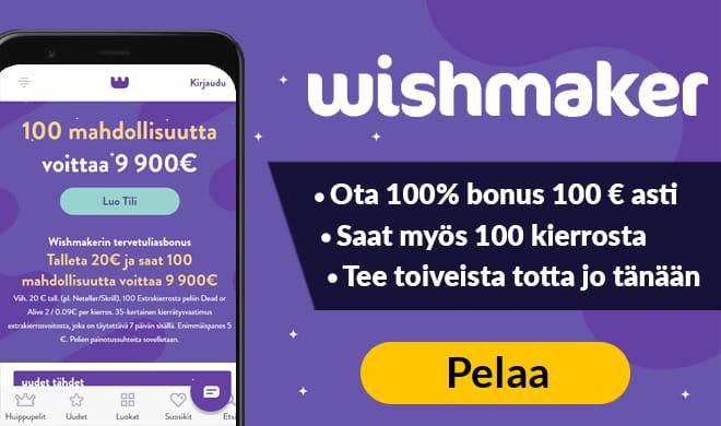 Ota nyt 100 ilmaiskierrosta Dead or Alive 2 peliin Wishmaker Casinolta