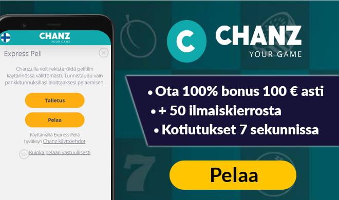 Chanz kasino tuplaa pelaajien ensimmäisen talletuksen 100 € asti
