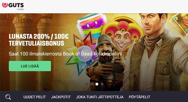 Guts Casino bonus tarjouksena juuri nyt on 200% talletusbonus, joka on voimassa 100 € asti