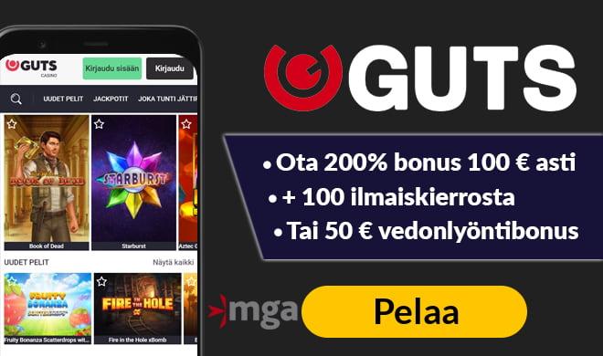 Guts Casino tarjoaa pelaajilleen vedonlyöntiä, pokeria sekä kattavan kasinon