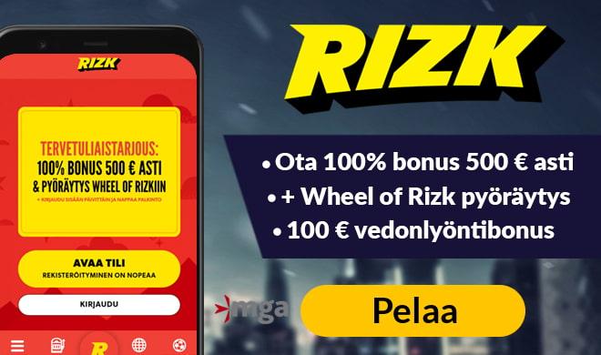 Rizk Casino antaa joko 100 € vedonlyöntibonuksen tai 100% bonuksen 500 € asti