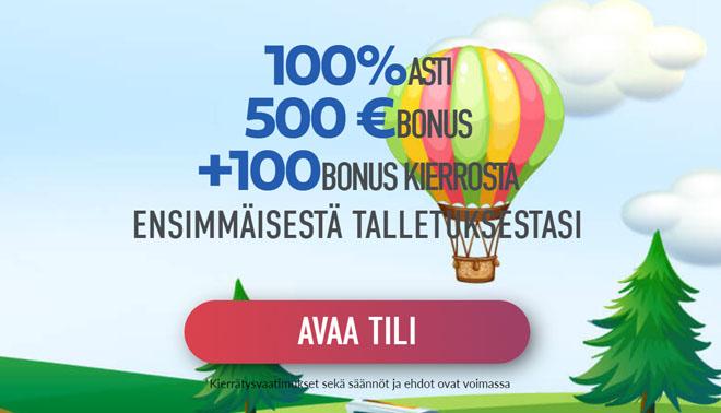 Uudet asiakkaat saavat 100% bonuksen 500 € asti